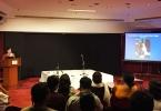 Dr. Cassio Francesca giving a lecture about Ustad Fahimuddin Dagar, Habitat Centre (New Delhi, 2015).